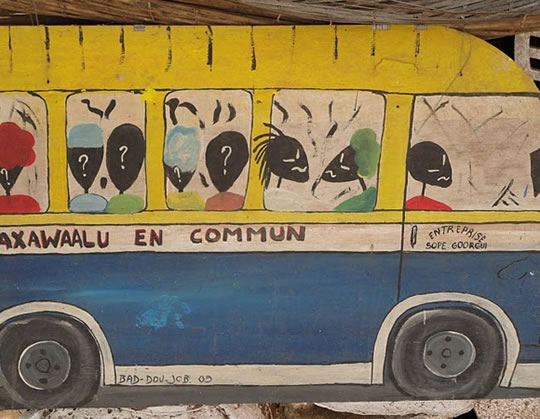 Painting of a Senegalese bus.