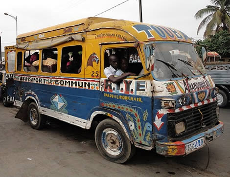 Photo: Senegalese in a hand painted van.