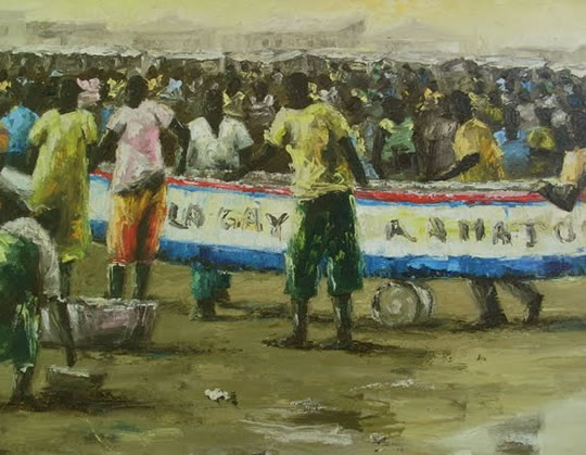 Senegalese painting of a crowd at an outdoor event.